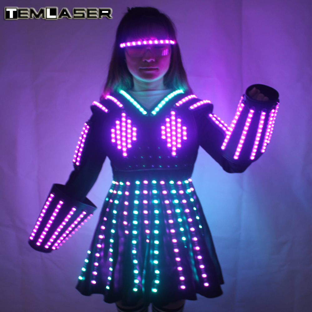 Colore RGB LED Crescente Vestito Robot Costume Uomini LED Luminoso Abbigliamento Usura di Ballo Per Night Club Partito KTV Forniture