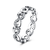 2017 New Sterling Silver Jewelry Hearts Ring Silver 925 Jewelry Real Solid 925 Silver Rings For