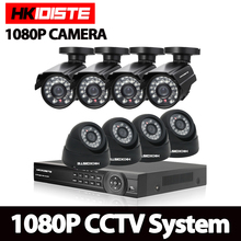 HKIXDISTE 8 Channel Home HD 2MP Security Camera System AHD 1080P Video Surveillance infrared Bullet 8CH DVR CCTV Camera System