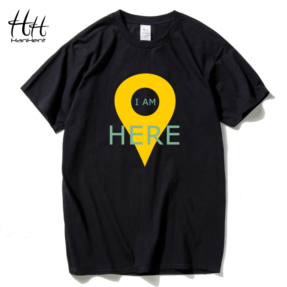 HanHent GPS Positioning Mens T-shirts Creative Cotton Funny Tshirt Boys Short Sleeve Summer Tee shirts Geeks T shirts Men