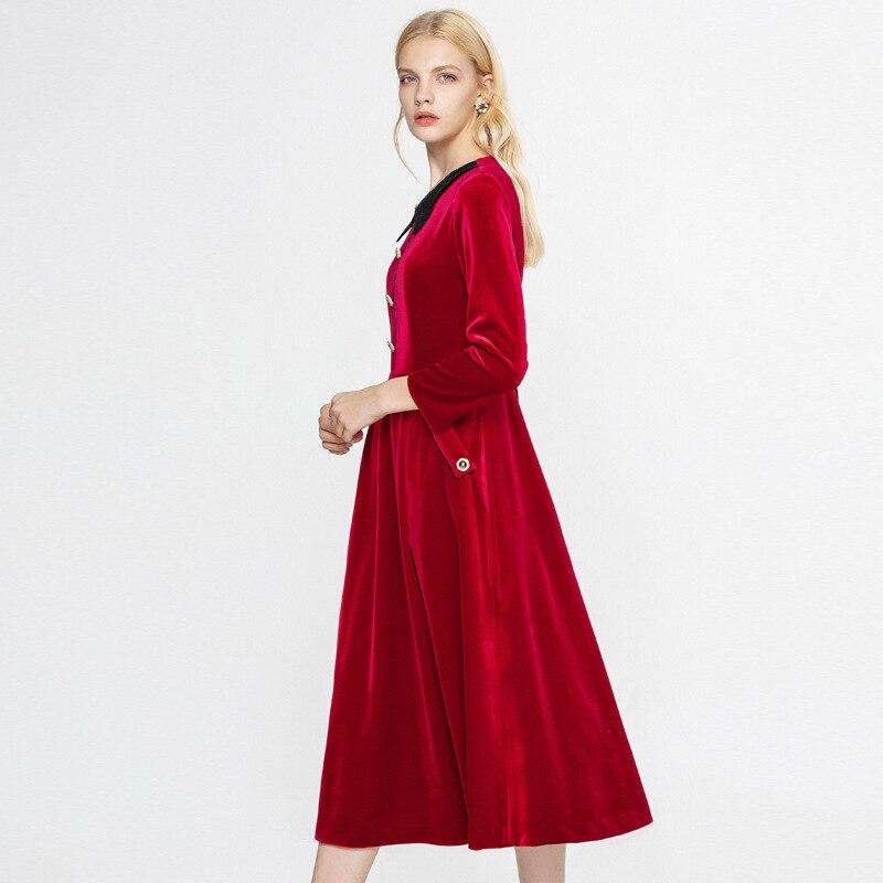 E Collare Velluto 2018 Blu Sottile Tasche Autunno Merletto Delle Bottoni Di Del Della Nuovi Vestito Arrivi Pista Inghilterra Donne Colore Solido Stile Rosso vZqrwZ8R6x