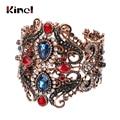 Kinel Vintage Big Elastic Resin Bangles Cuff Bracelets Hand Accessories Turkish Wide Bangle For Women Sculpture Wrist Joyas