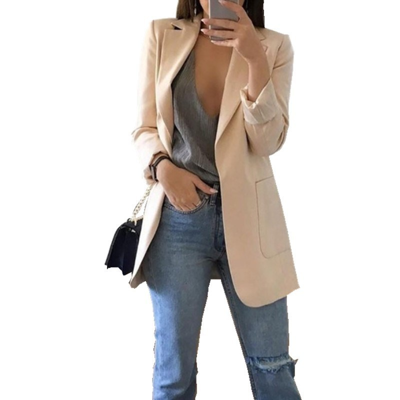Blazer Feminino Casual Plus Size Womens Tops Oversize Cardigan Temperament Long Sleeve Solid Color Turn-down Collar Coat