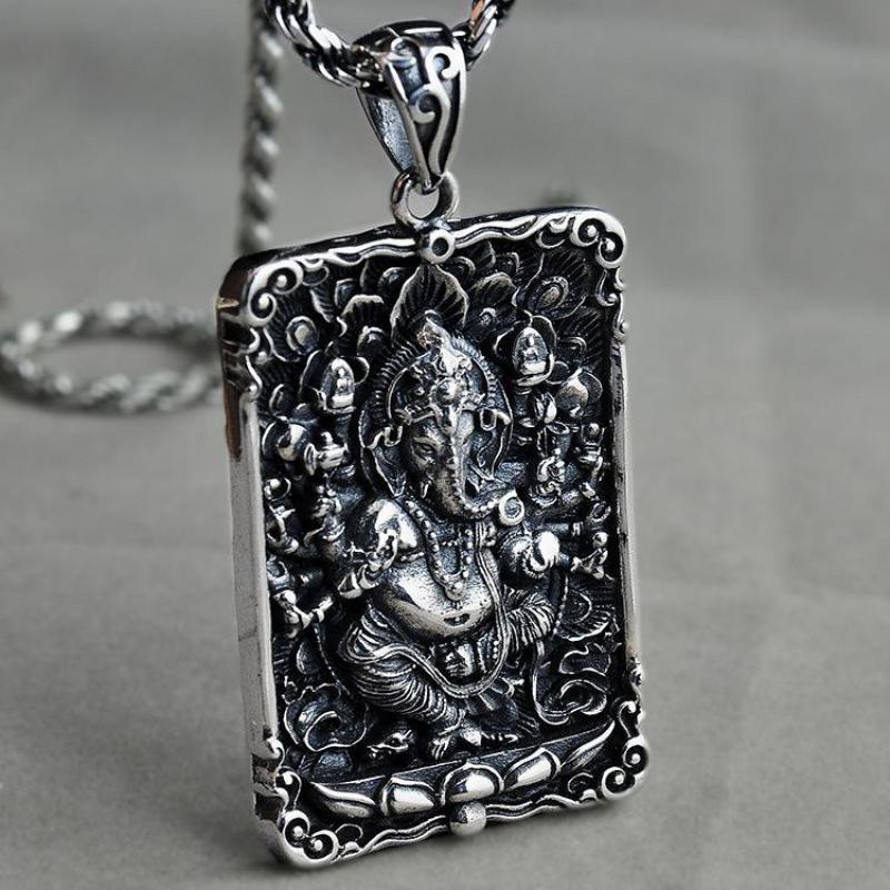Colliers et pendentifs véritable 925 pendentif en argent Sterling pour hommes éléphant dieu Tag Ganesha Six mots OM gravé bouddha Figure-in Pendentifs from Bijoux et Accessoires    1