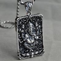 Necklaces & Pendants Real 925 Sterling Silver Pendant For Men Elephant God Tag Ganesha Six Words OM Engraved Buddha Figure