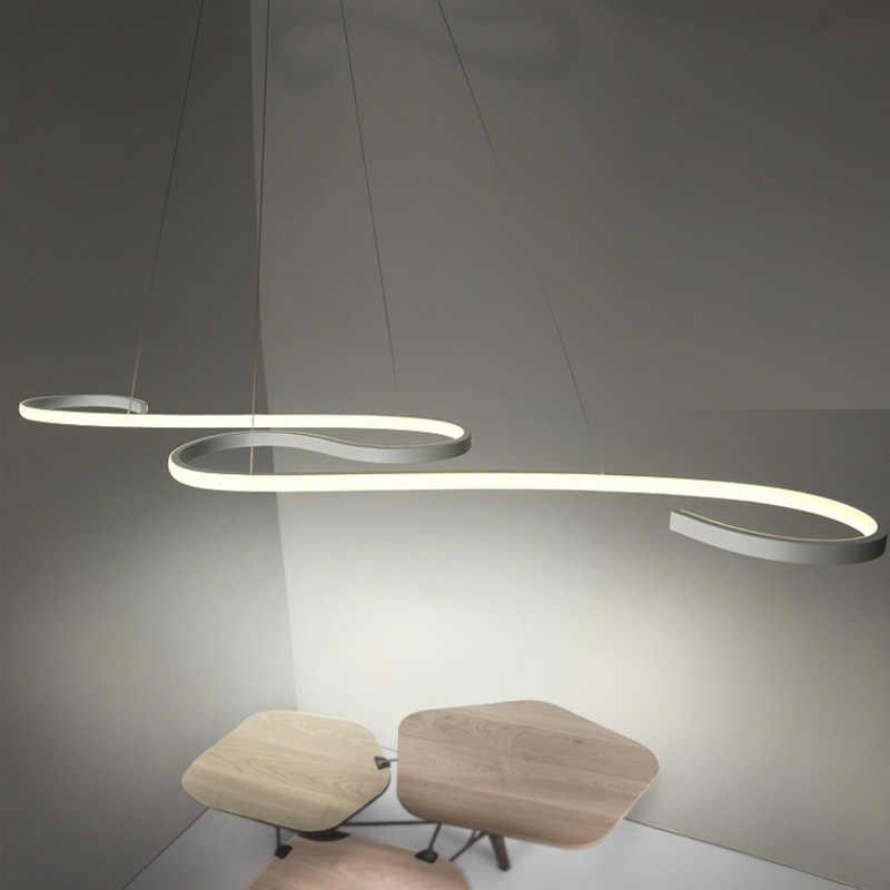 Luces colgantes LED modernas para comedor accesorio de sala de estar de aluminio con barra regulable remota café restaurante lámpara colgante Lustre