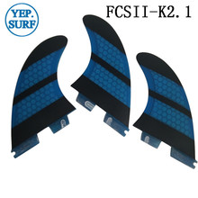 FCS2 K2.1 fins of surfboard FCSII k2.1 surf Fiberglass Honeycomb Blue color tri fin set