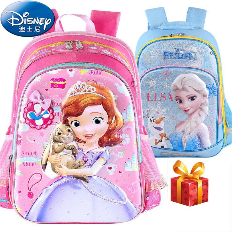 Disney 2019 sacs d'école princesse congelés protéger la colonne vertébrale sac à dos cartable enfants sac à dos sacs d'école pour les filles Grade 1-3