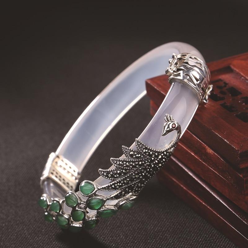 BALMORA solide 925 argent Sterling calcédoine paon Animal Bracelet pour les femmes cadeau Thai argent mode Vintage bijoux-in Bracelets from Bijoux et Accessoires    3