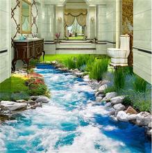 3d pvc flooring custom photo mural picture wall sticker Grass Creek water floor painting room wallpaper for walls 3d