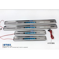 With Blue LED light High quality stainless steel Scuff Plate/Door Sill For 2010 2012 Volkswagen Tiguan