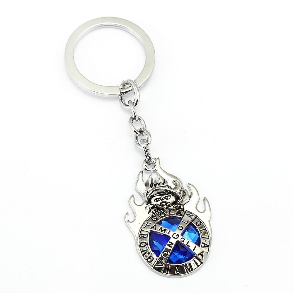 ecbb59376bb44 HSIC Anime Katekyo Hitman Reborn Metal Keychain Blue Stone Vongola Famiglia  Logo Chaveiro Cosplay For Teacher Gifts 12017