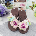 Summer Time Casual Wera Good Quality Women Sjoes Flat With Handmade Floral Coffee Female Flip Flops Comfortable Wear Cozy