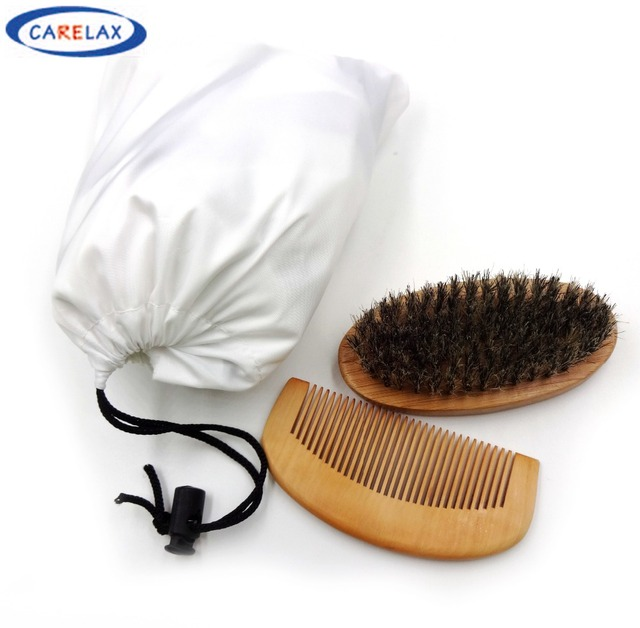 Pongee Shave Apron Bib & Beard Brush & Wooden Comb Set For Man New Design Beard Caring Shave Apron Bib Mustache Shaving Apron