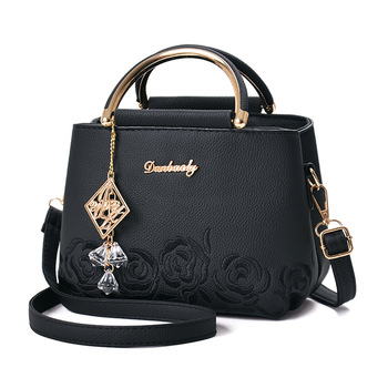 Fashion Embroidery Flower Leather Designer Handbag