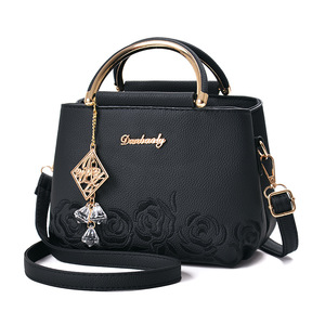 Image 1 - Women Small Bag Female EmbroideryPU Leather Designer Bag 2019 Fashion New Flower Shoulder Bag Womens Handbag