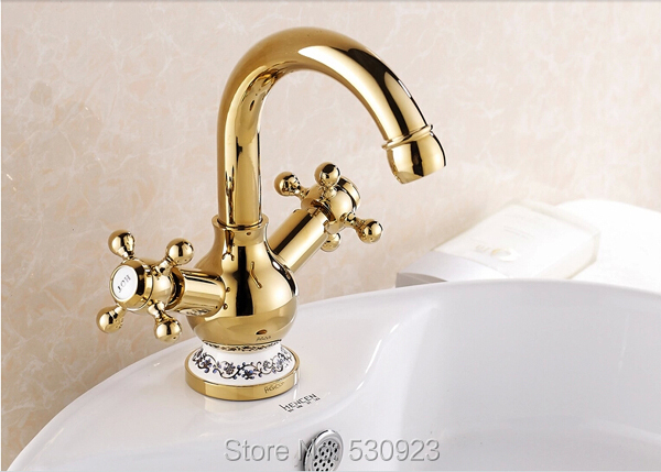 Newly Solid Brass Ceramics Base Bathroom Sink Basin Faucet Golden Polished Dual Handles Single Hole Mixer Tap Deck mounted newly euro style luxury bathroom diamante basin faucet solid brass rose golden polished sink mixer tap single handle deck mount