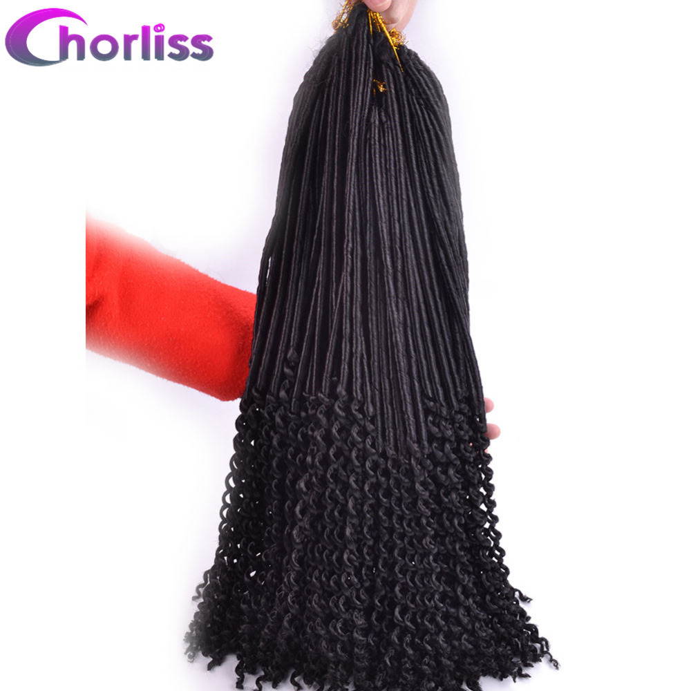 "Chorliss 20"" Black Synthetic Braiding Hair Extensions Soft Faux Locs Crochet Hair Bundles Curly Ends Crochet Braids Hair 24Roots"