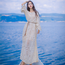 Summer Women dress Loose Knitting Full Sleeve Hollow Out In 907 Sets Long Type A Smock Dresses Lightige 7642
