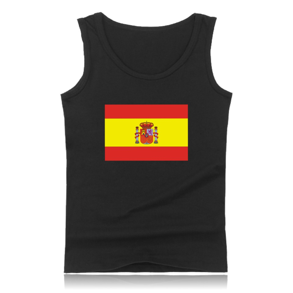 Kingdom of Spain Flag   Tank     Top   Men Stretchy Sleeveless Shirt Brazil Black Casual Fashion bodybuilding Fitness Vest