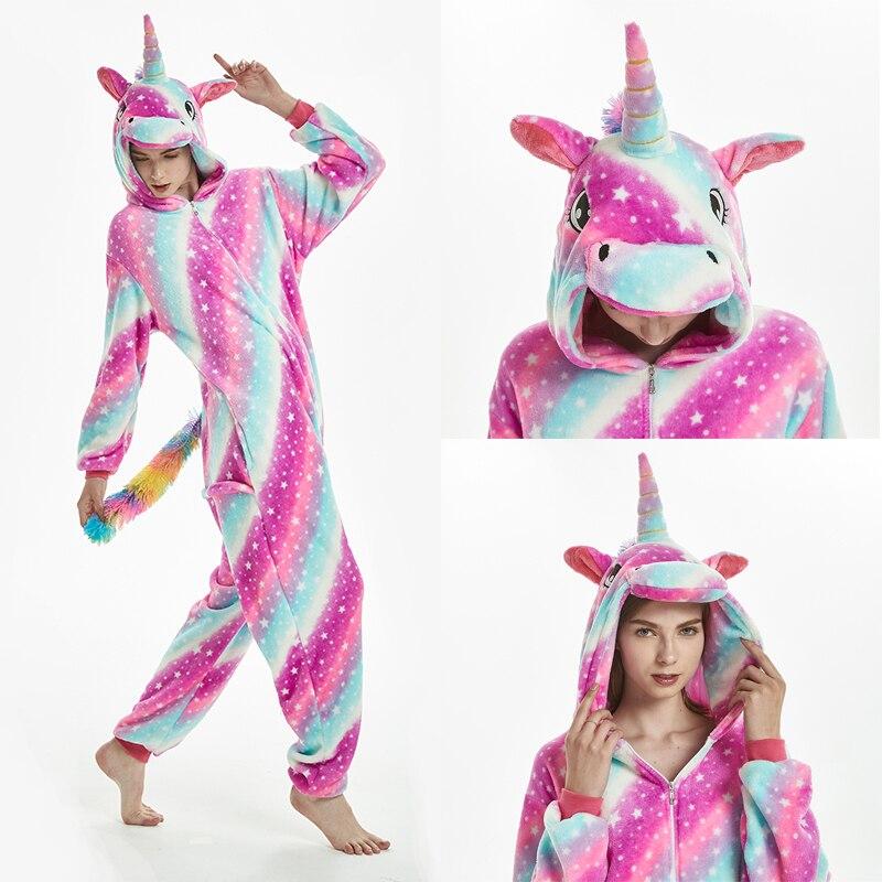 2019 Winter Unicorns Pajamas Stitch Animal Sleepwear Onesie Kigurumi Women Men Unisex Adult Flannel Nightie Home Clothes Sets