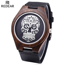 REDEAR Men Quartz Watch Imported Movt Skull Pattern Dial Wooden Case Wristwatch
