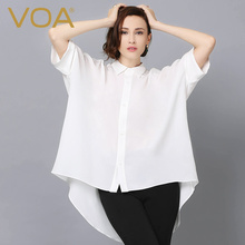 VOA Summer Fashion Loose White Silk Shirt 2017 Women Spring Plus Size 5XL Half Sleeve Sexy Solid Casual Office Blouse B5858