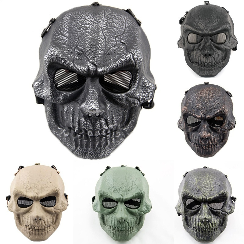 DC04 Military Army Tactical Skull Ghost Full Face Airsoft Paintball Protective Mask CS Wargame Hunting Cosplay Halloween