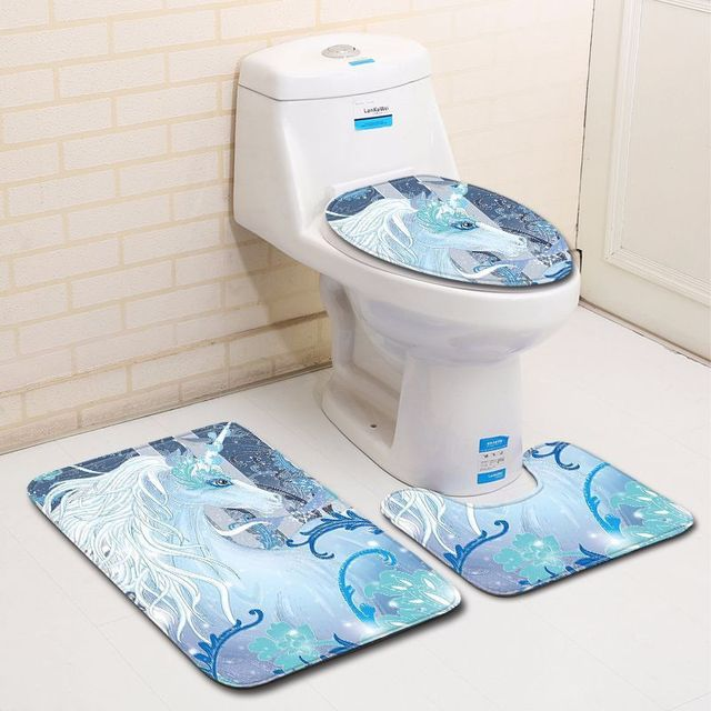 3pcs Microfiber Bath Mats Set Unicorn Pattern Bathroom Carpets Set 3pieceS Anti-slip Toilet Floor Mats Bathroom Rugs