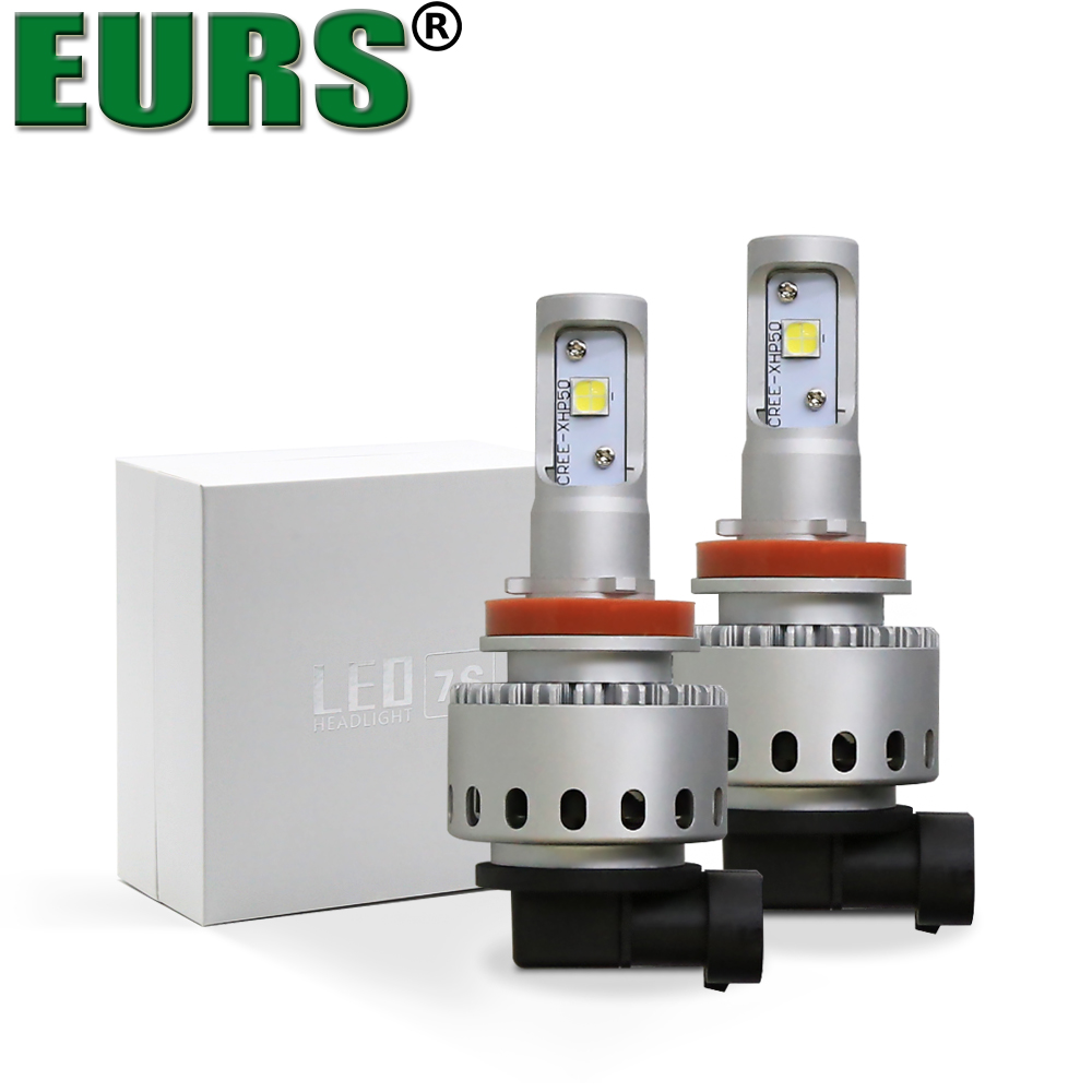 EURS TM 7S H4 H7 CSP Led Car Headlight Automobile LED Bulb XHP50 80W 8000LM H1