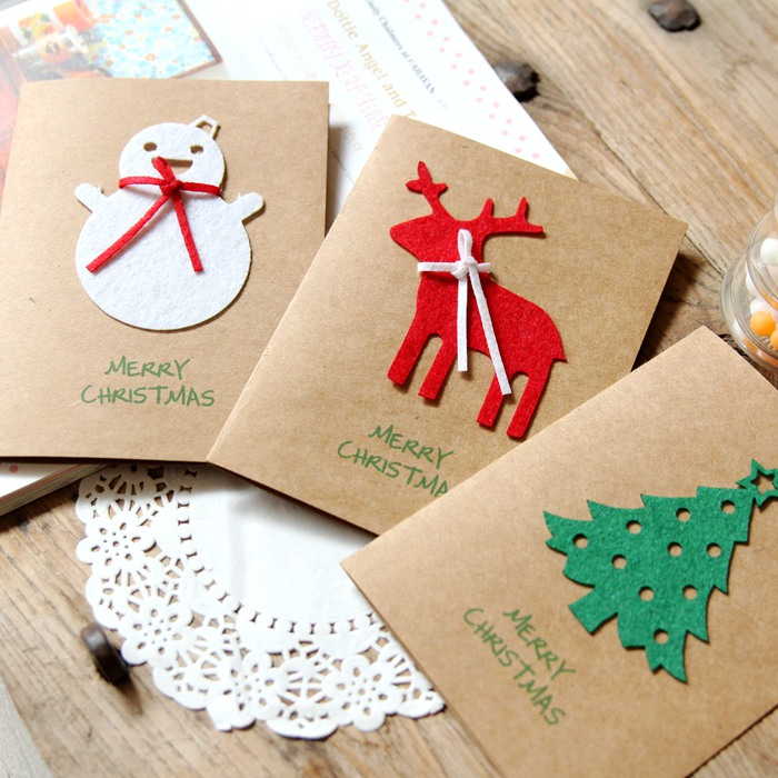 Creative Birthday Cards Cute Cartoon Fawn Old Snowman Pine Kraft Christmas Cards Holiday Gift Cards 30pcs in one postcard take a walk on the go dubai arab emirates christmas postcards greeting birthday message cards 10 2x14 2cm