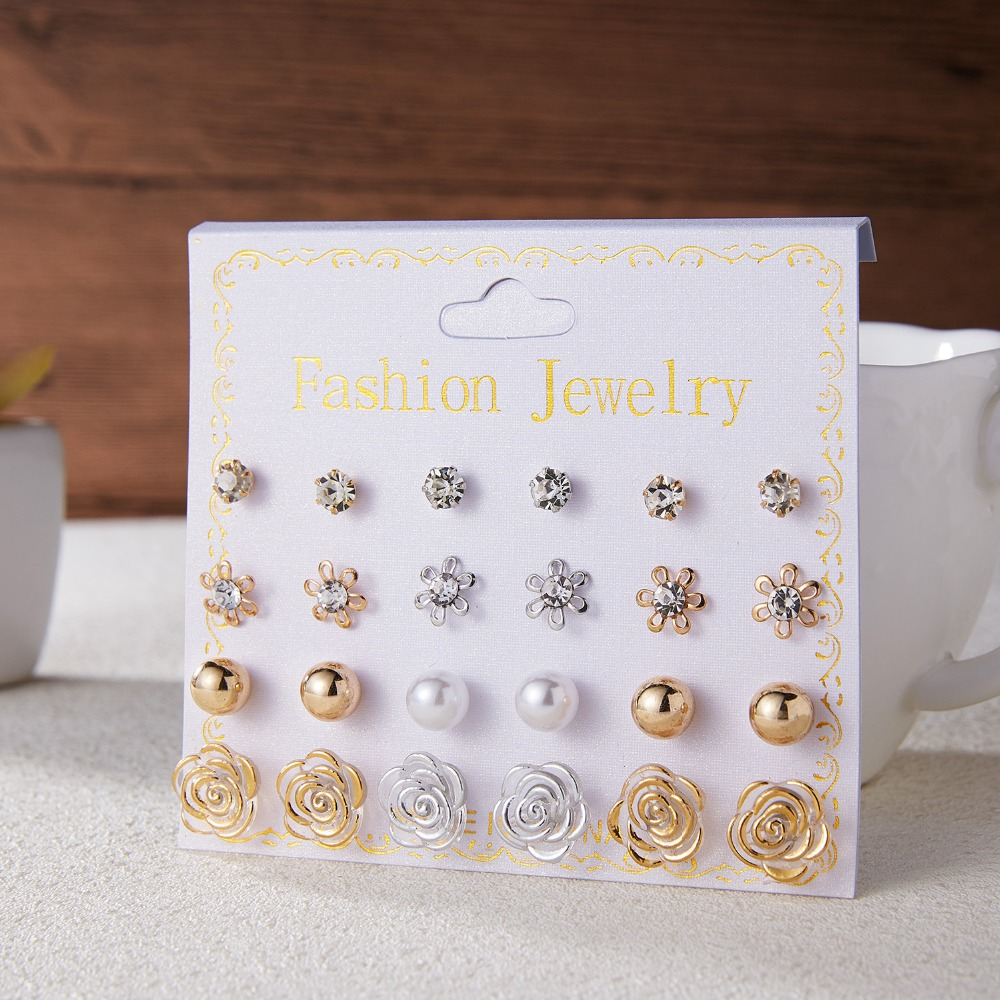 12 Pairs/set Stud Earrings Set With Card Transparent Zircon Balls Love Flowers Earrings Women Imulated Pearl Earrings Jewelry 11