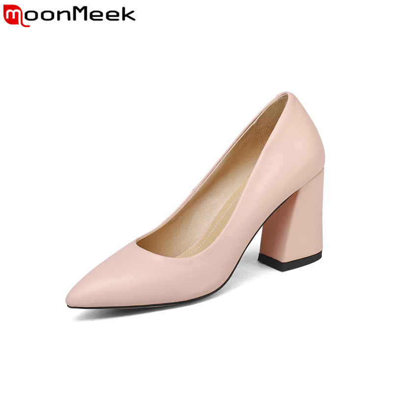 MoonMeek new arrival 2018pointed toe high heel women pumps shallow square heels party wedding shoes elegant female shoes women s high heels women pumps sexy bride party square heel square toe rivets high heel shoes