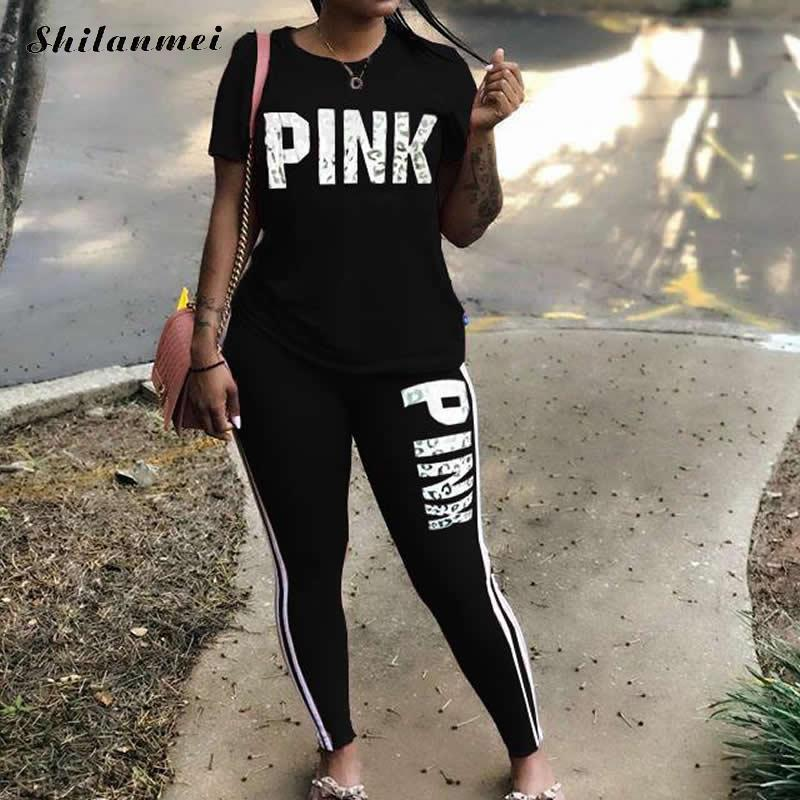 Pink Letter Print Tracksuit Women 2019 Plus Size Sportsuit 3xl T-Shirts And Skinny Pants Sets Suits Women Casual Two Piece Set title=