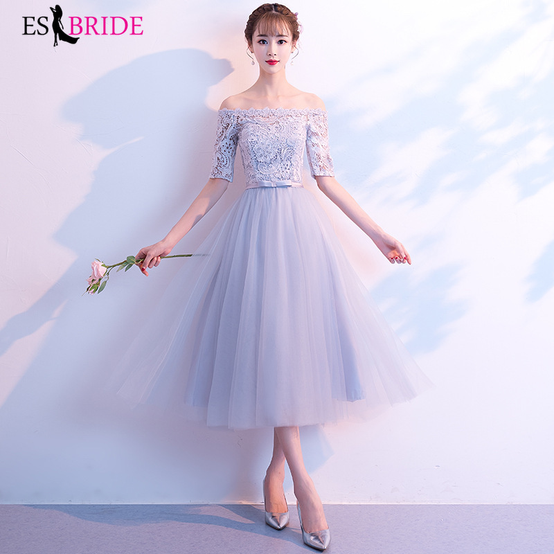 Round Collar Backless A-line Grey Lace Short Sleeve Sexy Evening Dresses 2019 New Arrival Evening Prom Gowns For Women ES1287