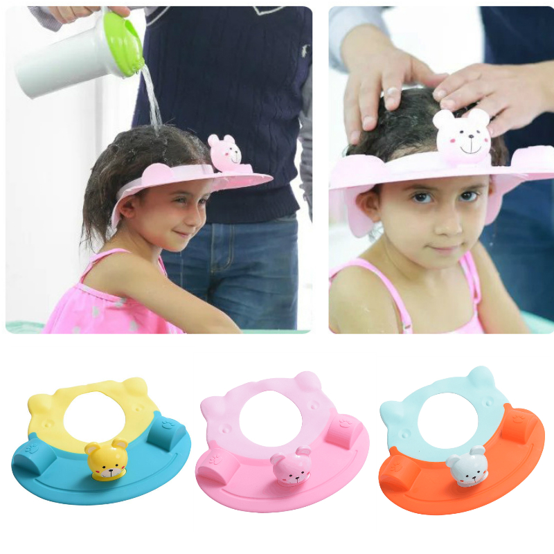 New Adjustable Baby Shower Cap Hair Wash Shield for Children Protect Shampoo Kids Bath Visor Hat Infant Waterproof Cap