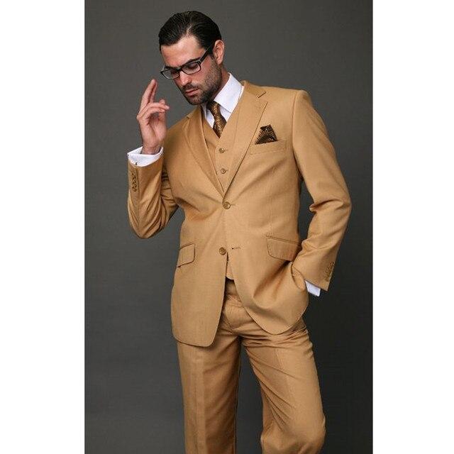 Custom Made Khaki Clic Men Suit Slim Fit Modern Wedding Blazer O Utfit 3 Piece