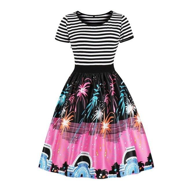 2018 Summer Vintage Cotton Plus Size 4XL Cartoon Cute Women Dresses A-Line Stripe Star Patchwork Print Halloween Female Dress