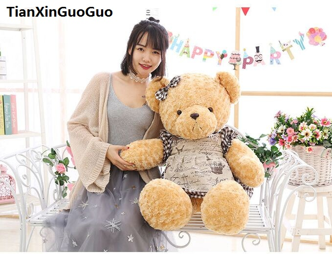 stuffed toy large 80cm bowtie teddy bear plush toy lovely dressed skirt bear soft doll throw pillow birthday gift b0749 stuffed animal 120 cm cute love rabbit plush toy pink or purple floral love rabbit soft doll gift w2226