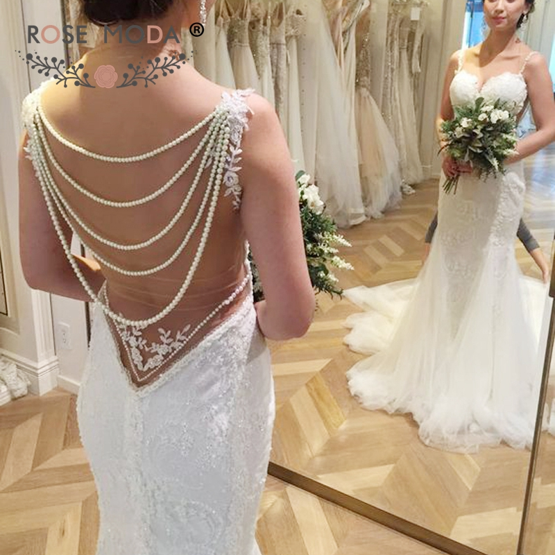 Rose Moda Chantilly Lace Mermaid Wedding Dress With Pearls Backless
