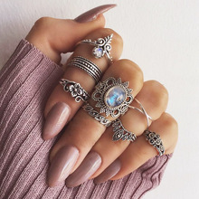 Zinc Alloy Carved Vintage Rings for Women Silver  Geometric Starry Sky Boho Ring Set with Big Blue Stone Jewelry Gift Anelli
