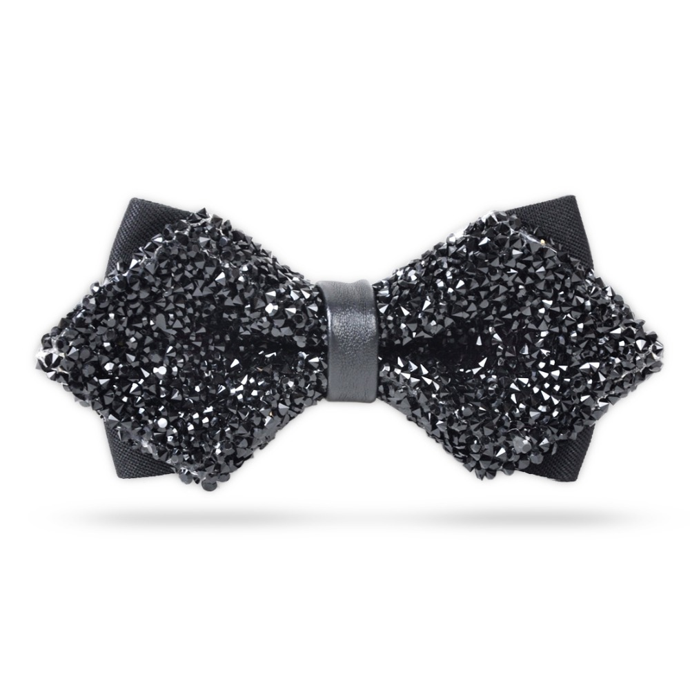 Fashion Luxury Diamond Bow Tie Glitter Crystal Rhinestone Men Tuxedo Bow Tie Triangle Adjustable For Wedding Party Gift