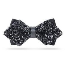 New Fashion Luxury Tie Glitter Crystal Rhinestone Tuxedo Bow Ties Triangle Adjustable Adult Boys for Men's Wedding Party Dress