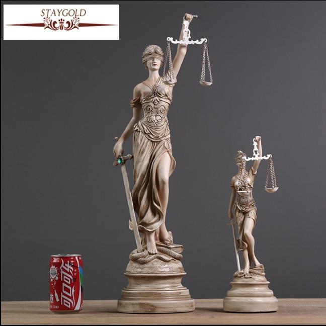 Oude Griekse godin van Justitie Themis standbeeld hars ambachten Retro huisdecoratie