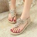 2016 Nuevo Rhinestone de La Manera Zapatos de Diamante de Las Mujeres Sandalias de Verano Flip Flop Zapatos Sandalias Hechas A Mano