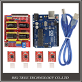CNC Shield Expansion Board V3.0 +UNO R3 Board for for Arduino+ Stepper Motor Driver A4988 With Heatsink Kits for Arduino