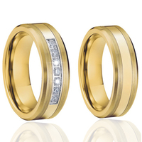 Tungsten Rings Wedding Band Couple Rings For Men And Women Gold Color Alliance Aneis Anel Bague