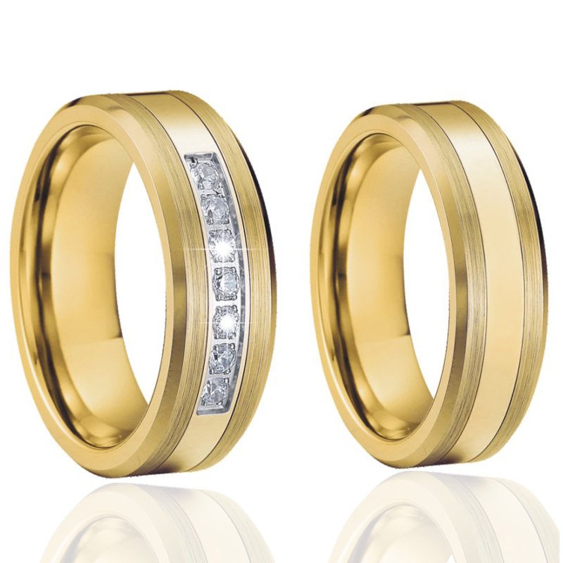 Mens Wedding Band Tungsten Rings anillos anel bague Gold color Promise Love Couple Engagement Rings for women все цены