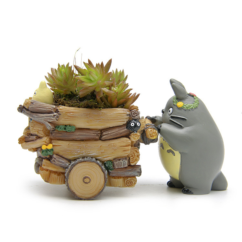 Useber Zakka Cartoon Style Mini Flower Pots Succulents Flower Pot Small Carts Mini Models Totoro Doll Ornaments DIY Resin Pots