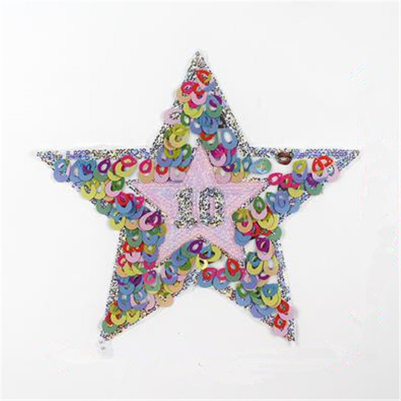 Fashion clothes embroidery patch 24cm pink 10 star sequins fabric diy deal with it flower patches for clothing free shipping